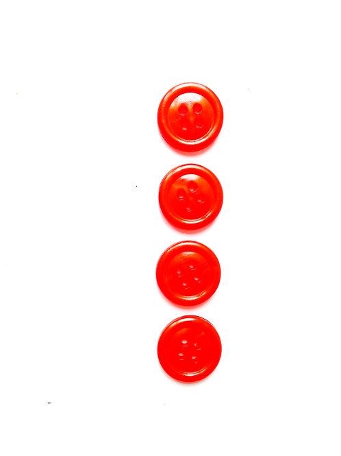 Lot de 4 boutons ronds en résine nacrée vermillon taille 1.2 cm.