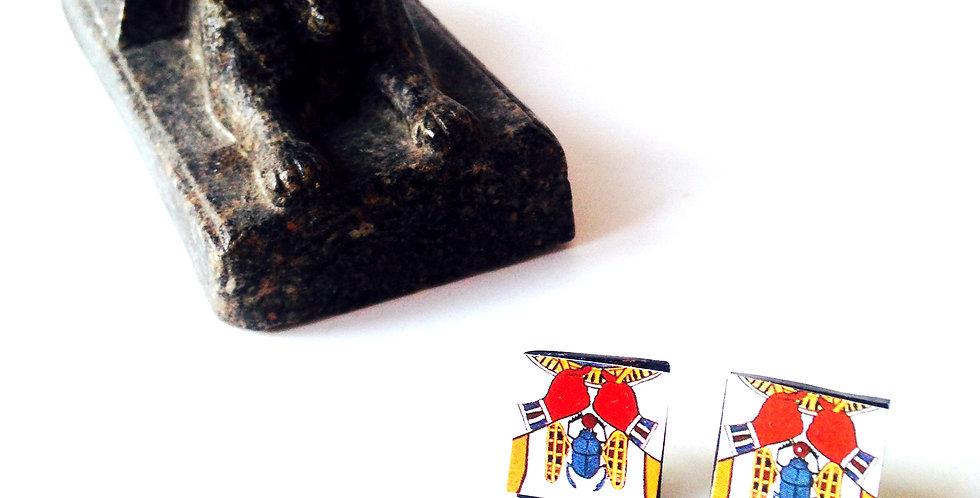 Puces d'oreilles KHEOPS, carrées, Egypte Ancienne