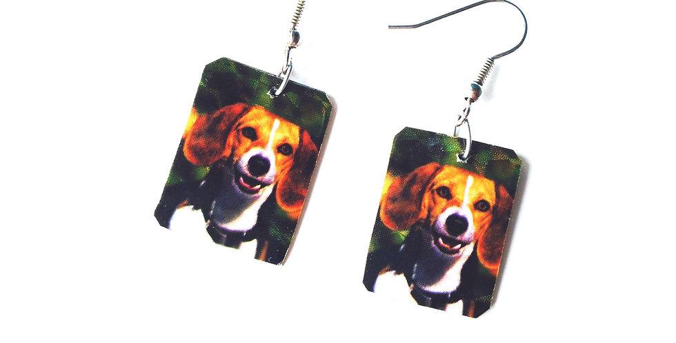 Boucles d'oreilles SMILE, le beagle happy par The Sausage