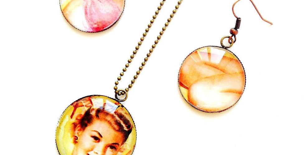 Parure PIN UP, PINK LADY, boucles & sautoir bronze cabochon verre