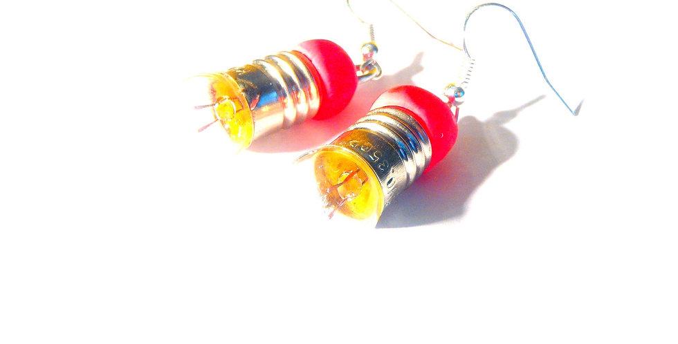 Boucles d'oreilles TING, MINI AMPOULES, rose fluo