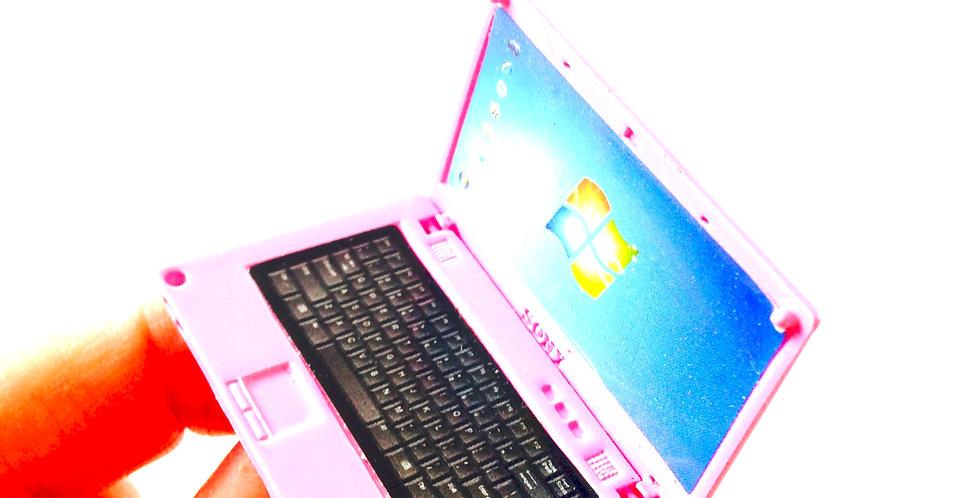 Bague I LOVE MON ORDI, ordinateur miniature, rose