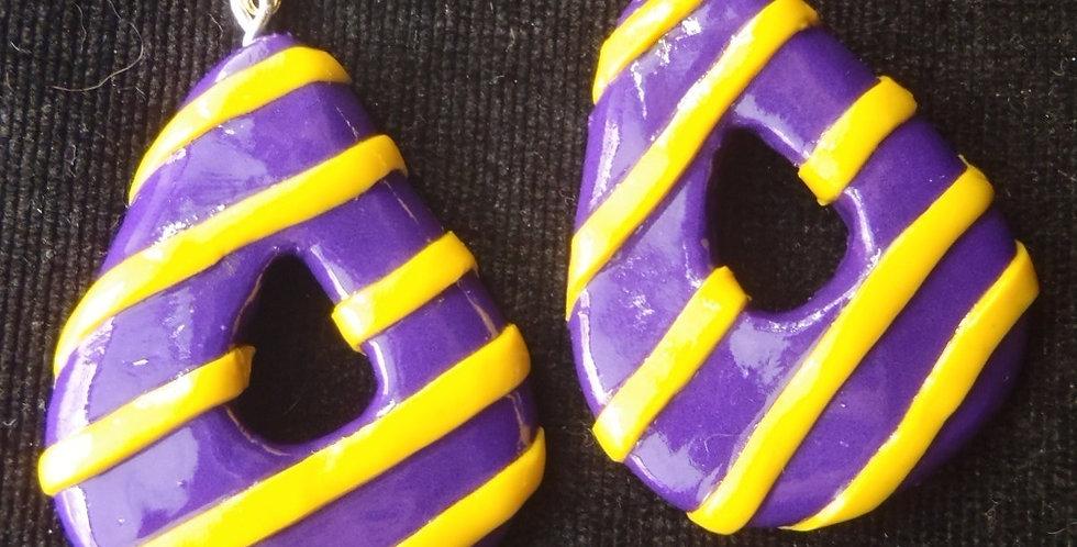 Boucles d'oreilles DAPHNÉ, forme goutte, violet & jaune par saucisse
