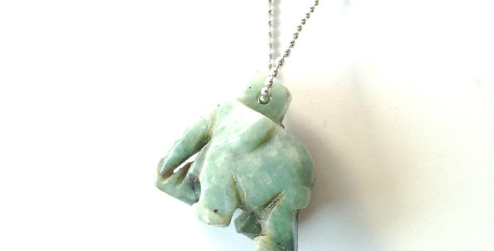 Sautoir ÉLÉPHANTESQUE, éléphant de jade