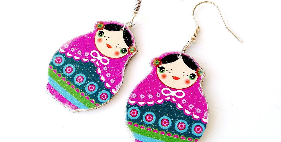 Boucles d'oreilles POUPÉE RUSSE, Fleurskaïa, les copines russes bijou carton