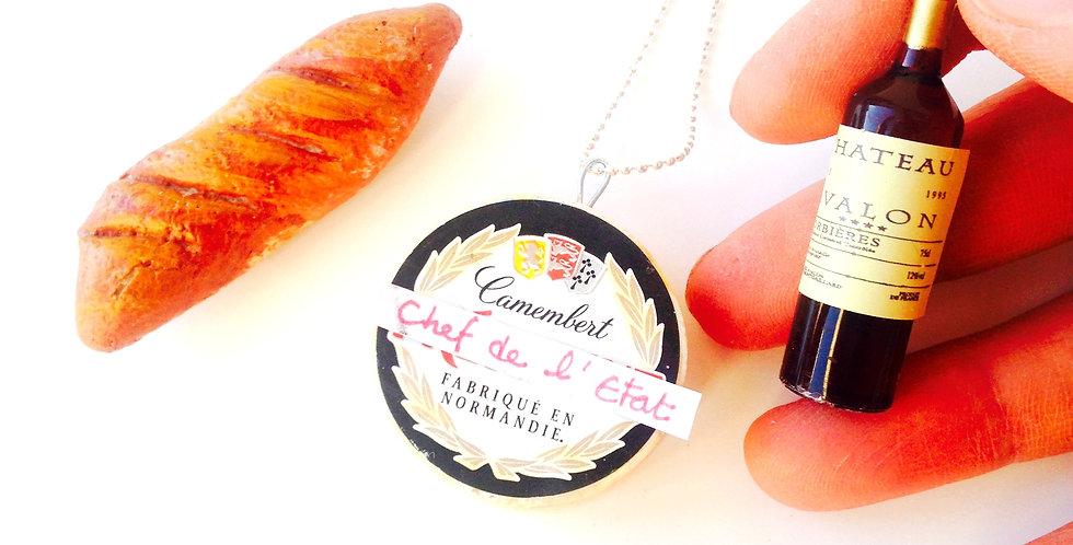 Sautoir LE TRÉSOR NATIONAL, pendentif camembert miniature, mignon