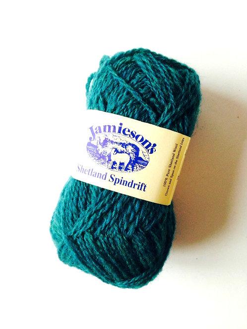 Pelote de laine 100% SHETLAND, spindrift (fil fin), bleu canard, coloris MERMAID
