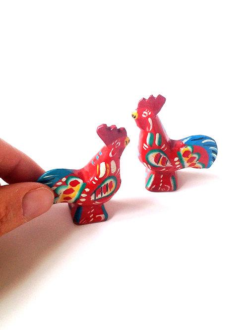 Coqs décoratifs en bois peint pour créations, petit cadeau, bijoux