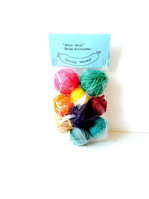Laine multicolore Tricot malin, assortiment de petites pelotes pour tricot