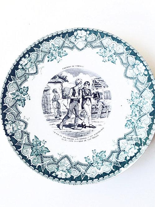 Assiette parlante ancienne Lunéville, assiette de collection, belle vaisselle