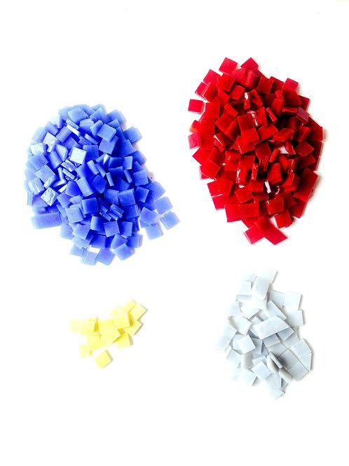 Tesselles de Mosaïque verre 1x1cm. Lot de 4 couleurs 300grs
