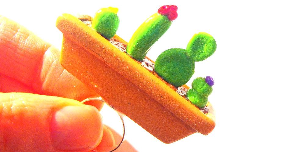 Bague FORÊT DE CACTUS, cactus miniatures en pot, ajustable