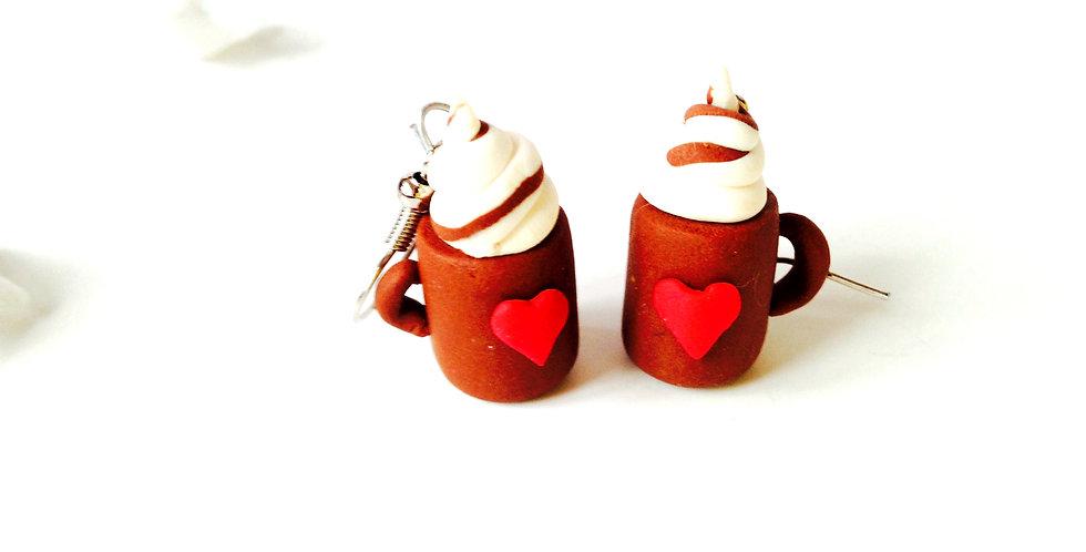 Boucles d'oreilles CAPPUCCINO, miniature, tasse mug coeur