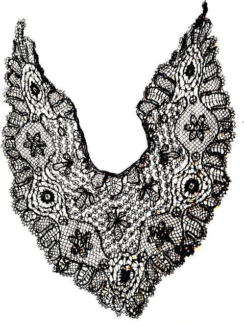 GUIPURE ou CHÂLE dentelle de coton ancienne, faite main, noire 80 x 55 x 32 cm