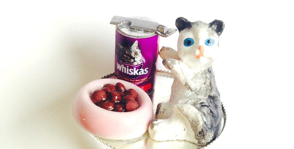 Bague MINOU, chat miniature et croquettes