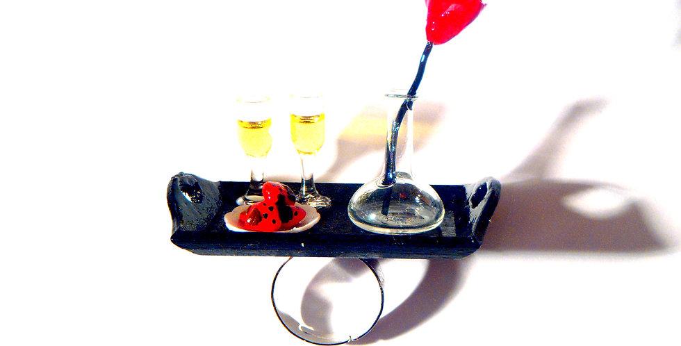 Bague LE VRAI GENTLEMAN, plateau miniature, roses & fraises