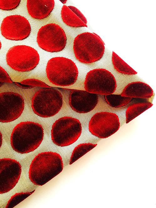 Coupon de tissu tapissier, toile beige à gros pois, en velours bordeaux 70 x 60