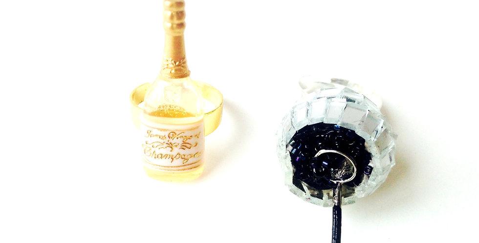Alliances fantaisie, mariage : Bagues Caviar et Champagne, miniatures