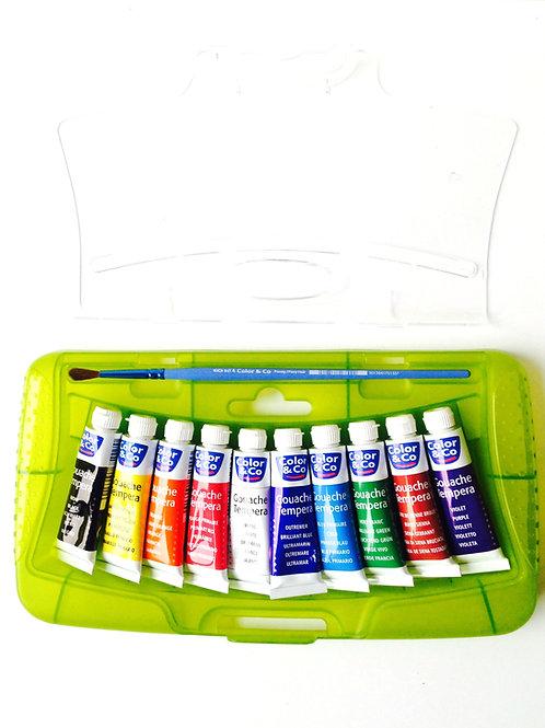 Coffret de gouaches, 10 tubes avec pinceau, palette. Produit d'occasion