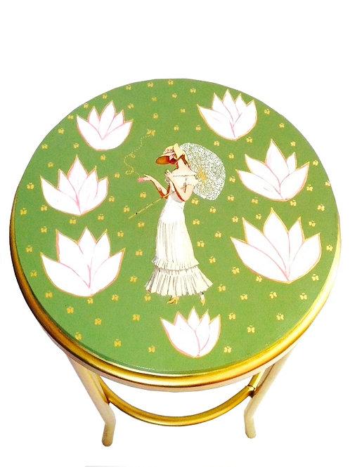 Tabouret de bar PRINTEMPS, peint à la main, doré et vert kaki, SophieLDesign
