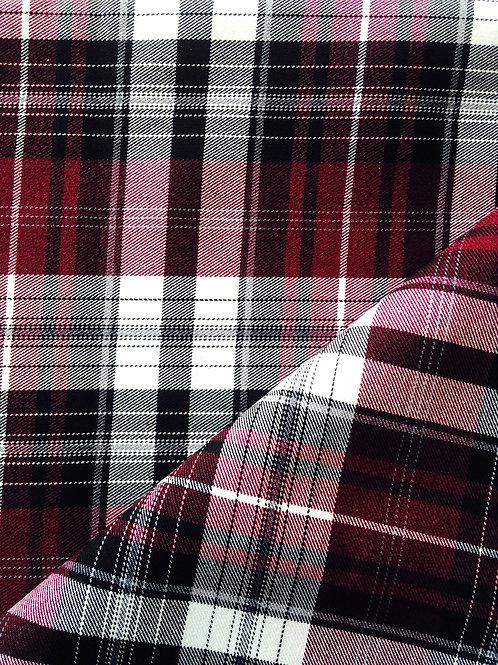 TARTAN écossais, violet, stretch, coupon de 154 x 137 cm