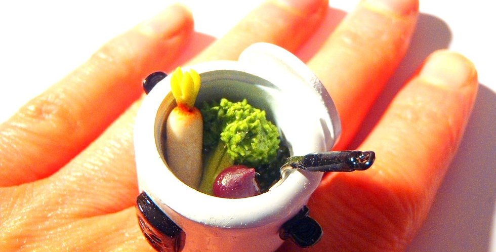Bague LA CUISINE VAPEUR, légumes miniatures