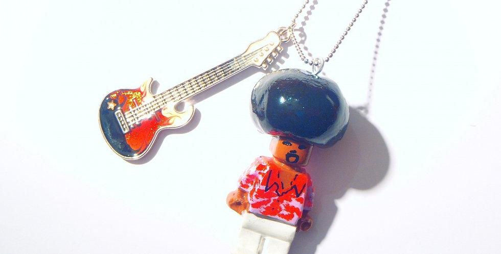 Sautoir PROLÉGOMÈNE, Jimi Hendrix, bonhomme et guitare miniature