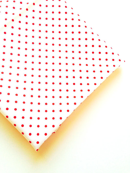 Coupon de tissu BLANC / ROUGE à pois fins, 108 X 150 cm