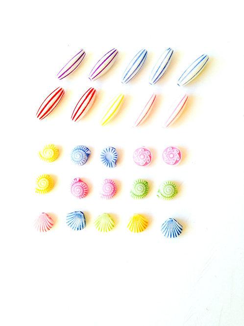 Lot de 25 perles pastel
