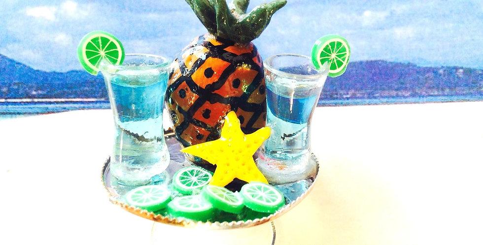 Bague ESCALE À CURAÇAO, ananas et drinks