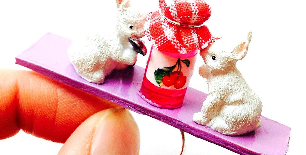 Bague LES VOLEURS DE CONFITURE, lapins miniatures