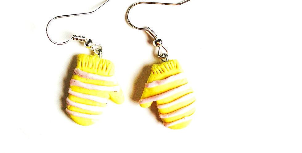 Boucles LES P'TITES MOUFLES, jaune clair / rose