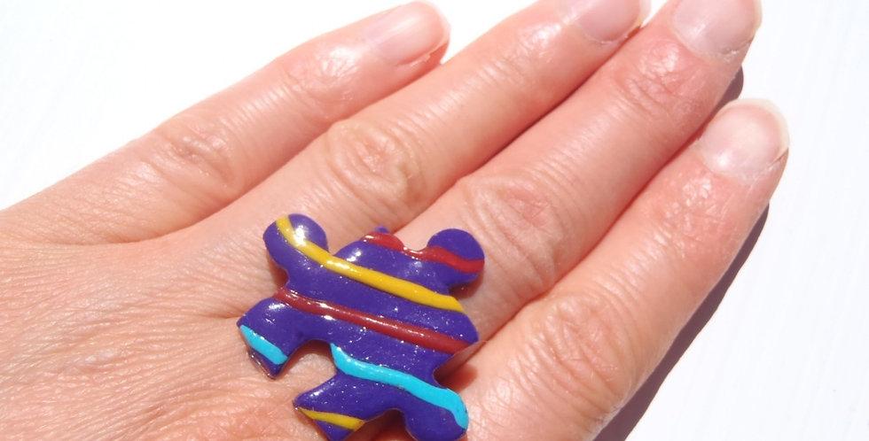 Bague PUZZLE, violet rayures obliques