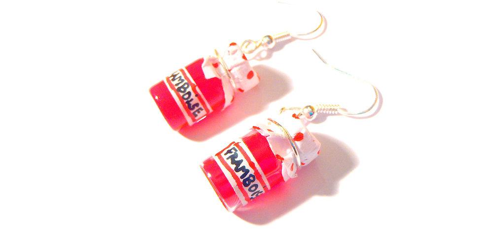 Boucles d'oreilles LES FRAMBOISINES, pots de confiture miniature