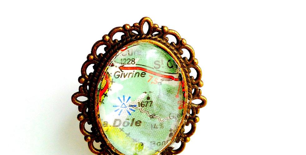 Bague A LA CARTE, cabochon verre bronze
