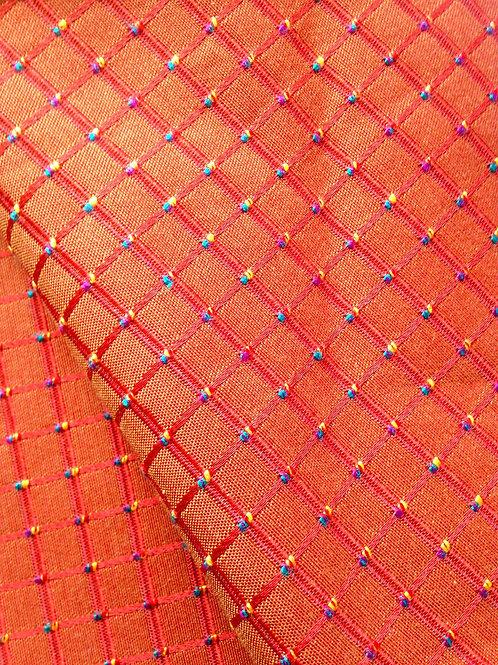 Coupon de tissu tapissier, toile à croisillons, corail ou abricot 284 cm x 47 cm