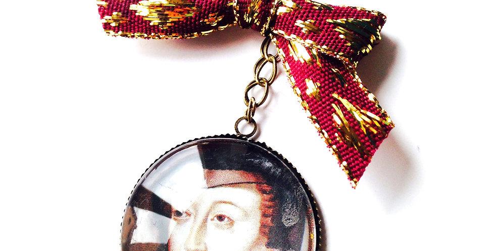 Sautoir CATHERINE DE MÉDICIS, portrait miniature, histoire, bronze, bordeaux