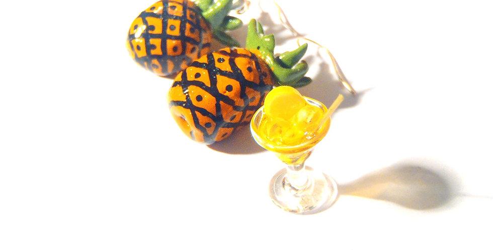 Boucles d'oreilles LES NANAS À ANANAS, ananas miniatures