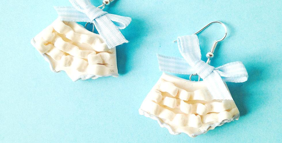 Boucles LES BLOOMERS, miniatures, blancs noeuds vichy bleu