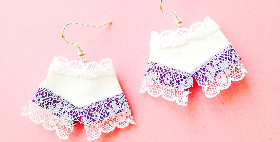 Boucles LES P'TITS SHORTY EN DENTELLE, miniatures, blanc / violet