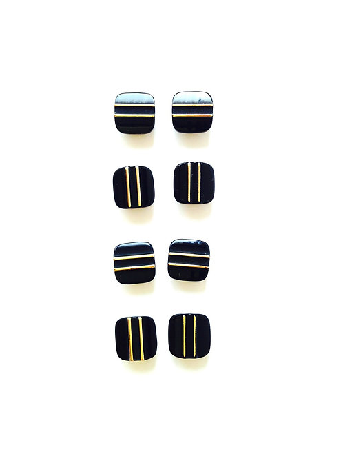 Lot de 8 petits boutons pastille vintage noirs, rayés doré, taille 1/2 cm