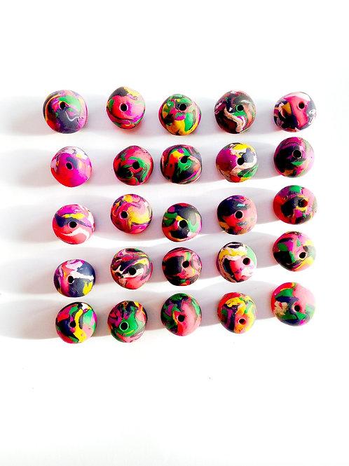 Lot de 50 perles faites main, grande taille, pâte polymère, faites main