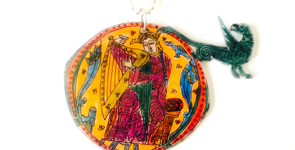 Sautoir ENLUMINURE médiévale, le HARPISTE ET LE DRAGON