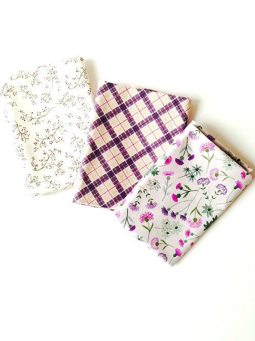 Fat quarters très jolis cotons imprimés fleurs et tartan 50 x 50 cm coton