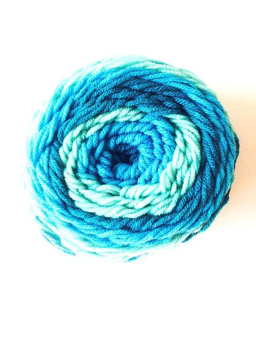 Pelote multicolore, dégradé de bleus, 150 grs / 240 m Polyacryl