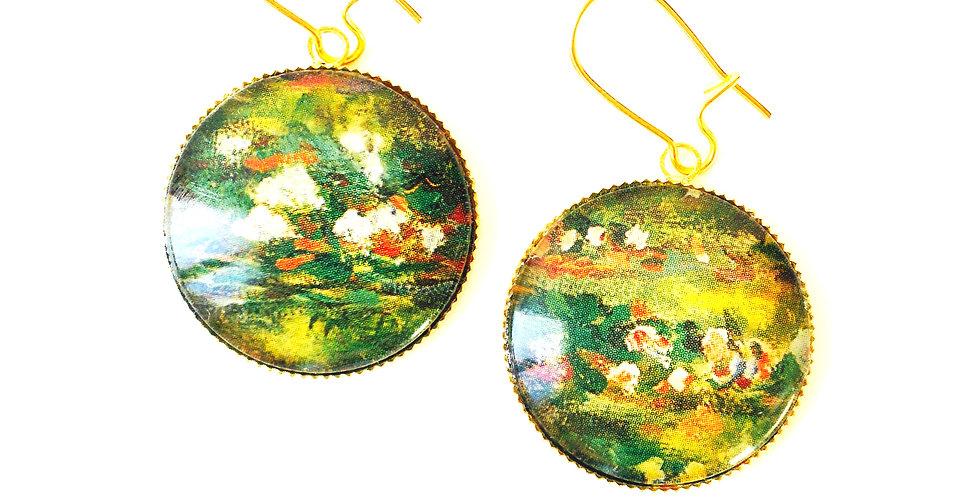 Boucles d'oreilles PONT JAPONAIS, d'après Monet