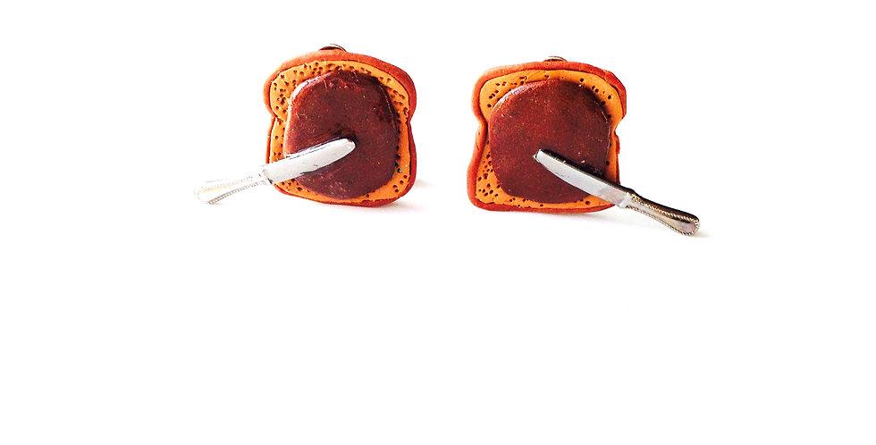 Boucles d'oreilles CLIPS, Toasts chocolat pâte à tartiner miniatures
