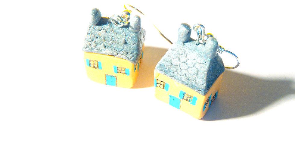 Boucles d'oreilles LES P'TITS KER, maison bretonne