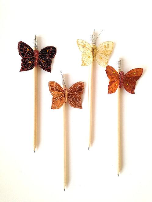 Crayons de papier HB - Lot de 4 décorés papillon de plume