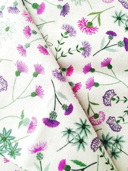 Fat quarter très joli imprimé fleurs de chardon 50 x 50 cm coton